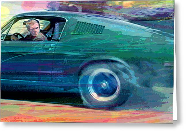 Bullitt Mustang Greeting Card by David Lloyd Glover