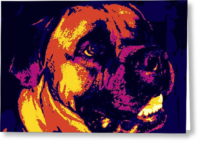 Slobber Greeting Cards - Bullmastiff  Greeting Card by Sheri Parris