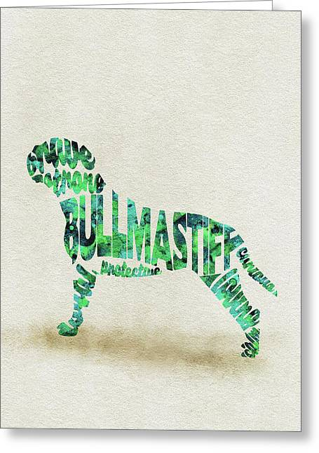 Greeting Card featuring the painting Bullmastiff Watercolor Painting / Typographic Art by Ayse and Deniz