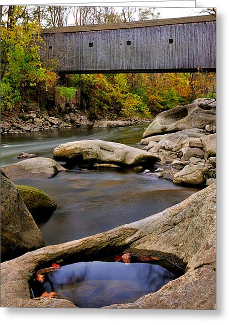 Bulls Bridge - Autumn Scene Greeting Card by Thomas Schoeller