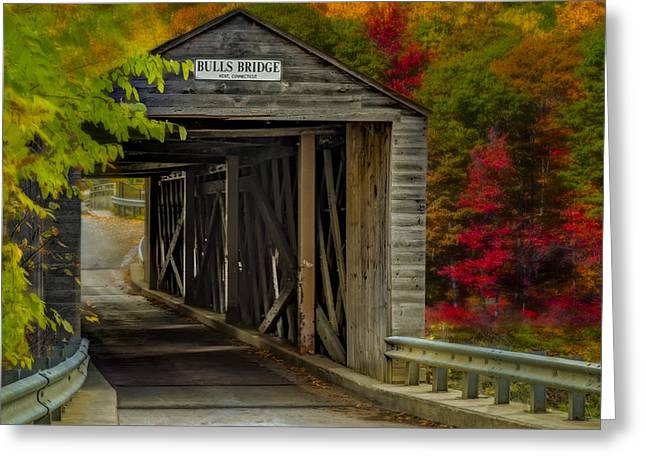 Bulls Covered Bridge Greeting Card by Susan Candelario