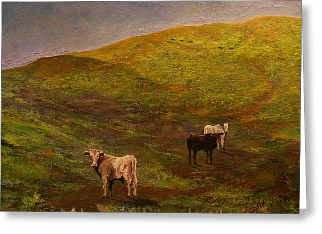 Bulls On Figueroa Mt. Greeting Card by Trish Campbell