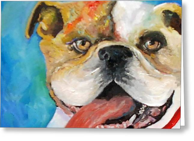 Slobber Greeting Cards - Bully Greeting Card by Lynn Weatherford