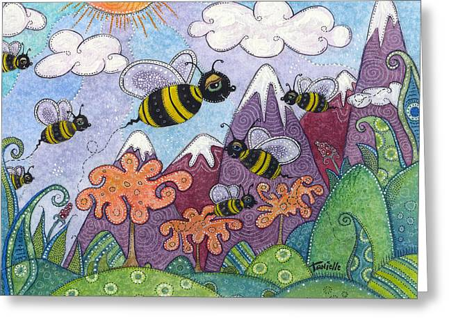 White Caps Greeting Cards - Bumble Bee Buzz Greeting Card by Tanielle Childers