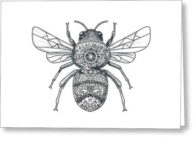 Bumble Bee Mandala Tattoo Greeting Card