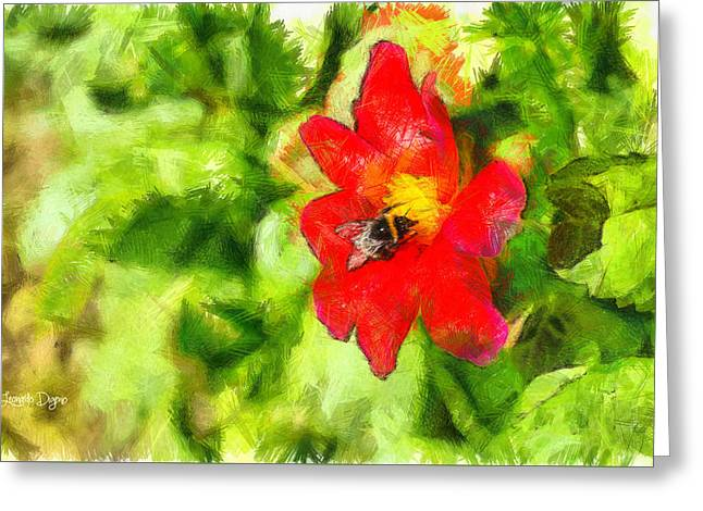 Bumblebee On The Flower - Da Greeting Card by Leonardo Digenio