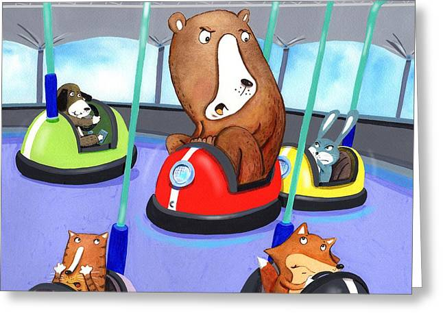 Bumper Cars Bumping  Greeting Card by Scott Nelson