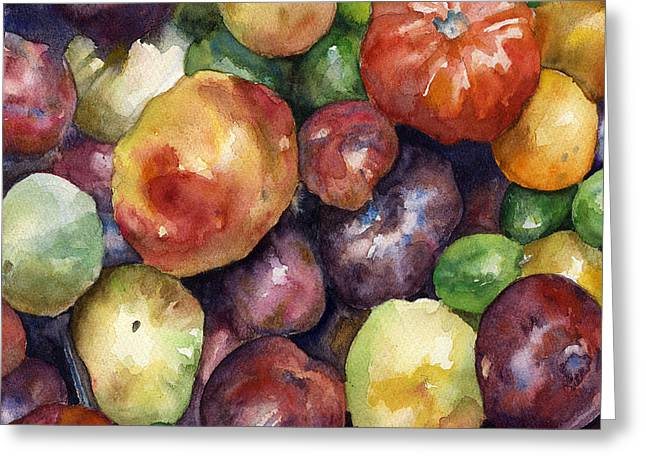 Bumper Crop Of Heirlooms Greeting Card by Anne Gifford