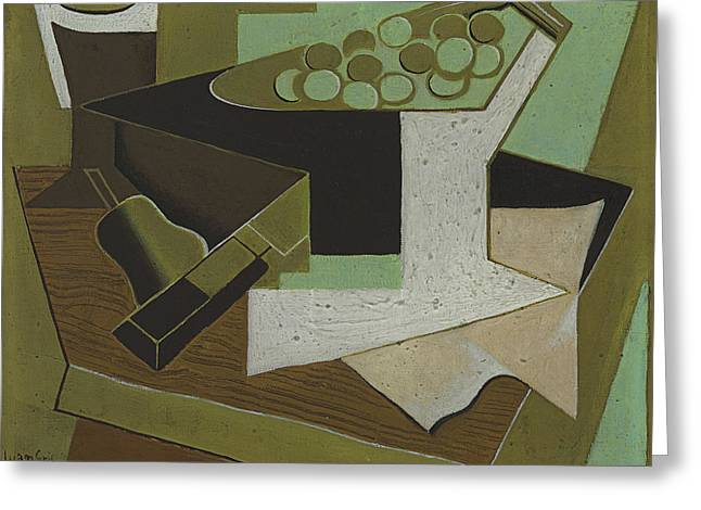 Bunch Of Grapes And Pear Greeting Card by Juan Gris
