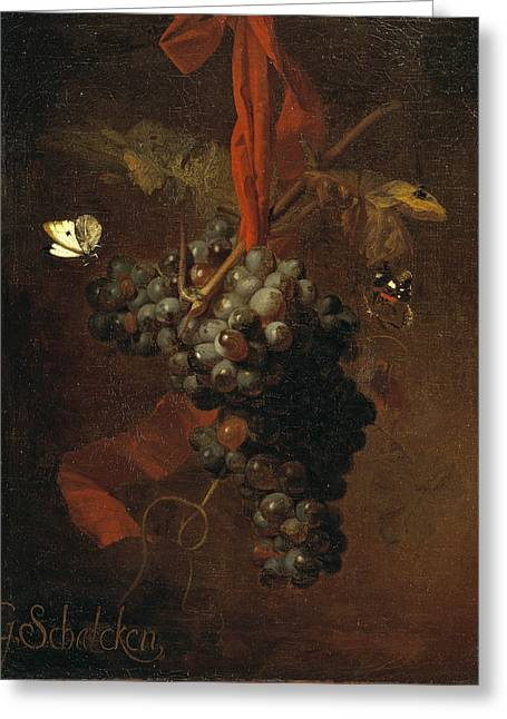 Bunch Of Grapes Greeting Card by Godfried Schalcken