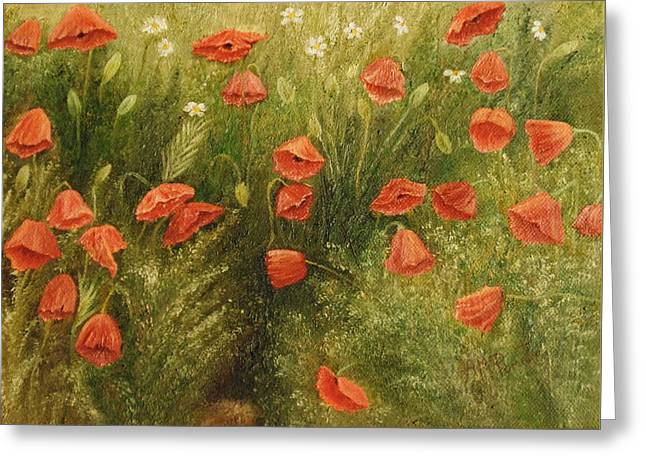 Greeting Card featuring the painting Bunch Of Poppies by Angeles M Pomata