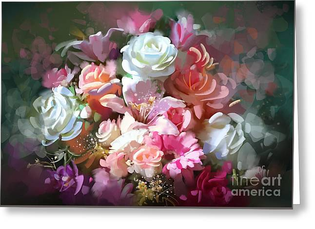 Greeting Card featuring the painting Bunch Of Roses by Tithi Luadthong