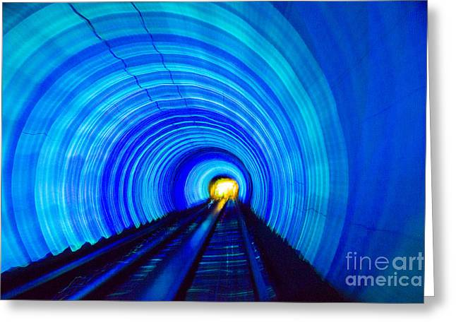 Greeting Card featuring the photograph Bund Tunnel Lights by Angela DeFrias