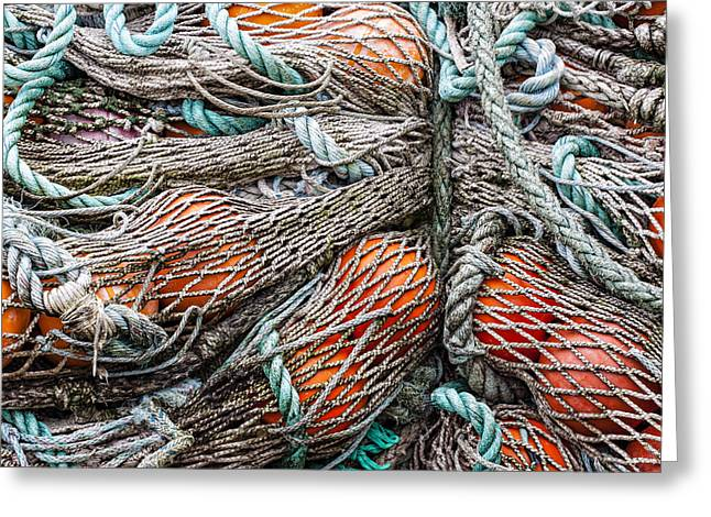 Bundle Of Fishing Nets And Buoys Greeting Card by Carol Leigh