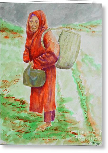 Bundled And Barefoot -- Portrait Of Old Asian Woman Outdoors Greeting Card