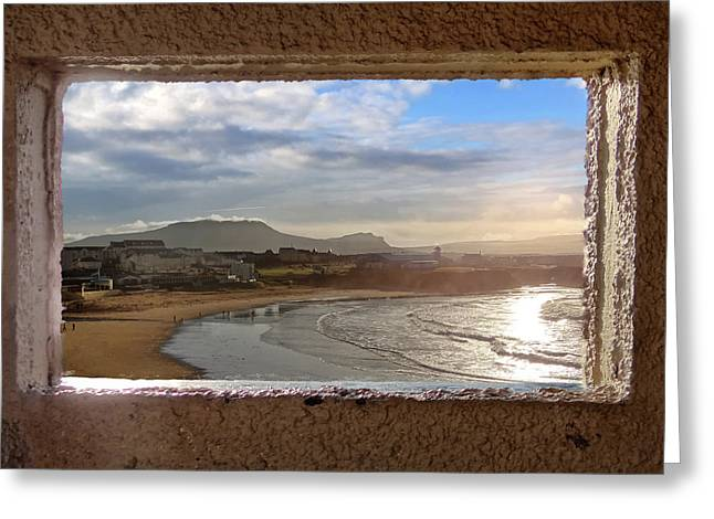 Bundoran And The Dartry Mountains Framed In The Window Of The Rougey Walk Shelter Greeting Card