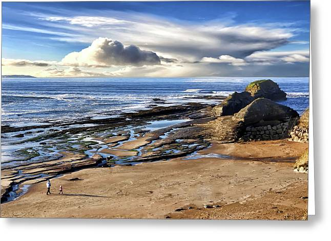Bundoran Beach And Rougey Rocks Greeting Card