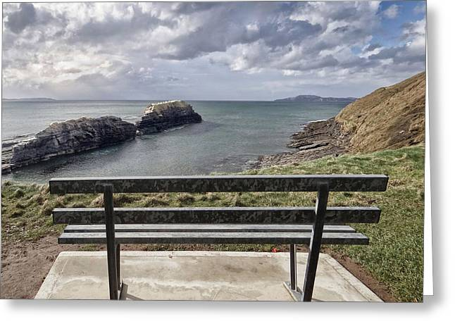 Bundoran - View Over The Diving Platform At Rougey Rocks Greeting Card