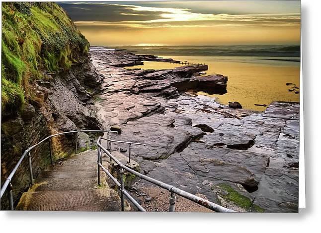 Bundoran West End Rock Swimming Pool In Golden Light Greeting Card