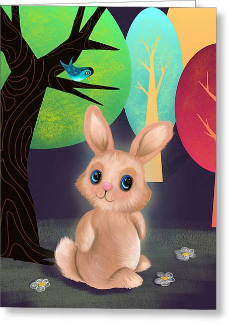 Bunny And Birdie Greeting Card