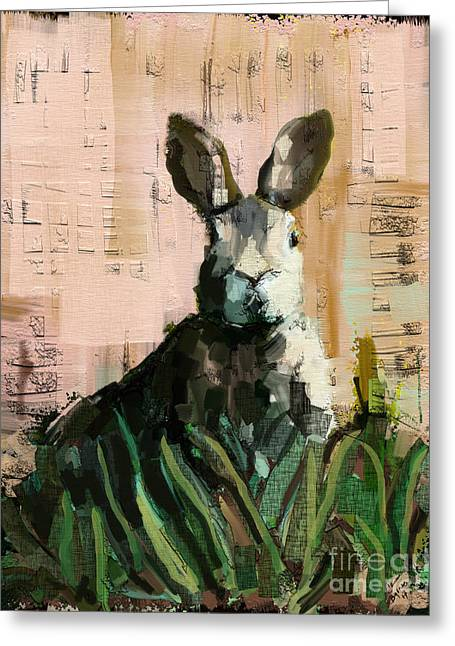 Bunny Greeting Card by Carrie Joy Byrnes