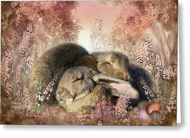 Bunny Dreams Greeting Card by Carol Cavalaris