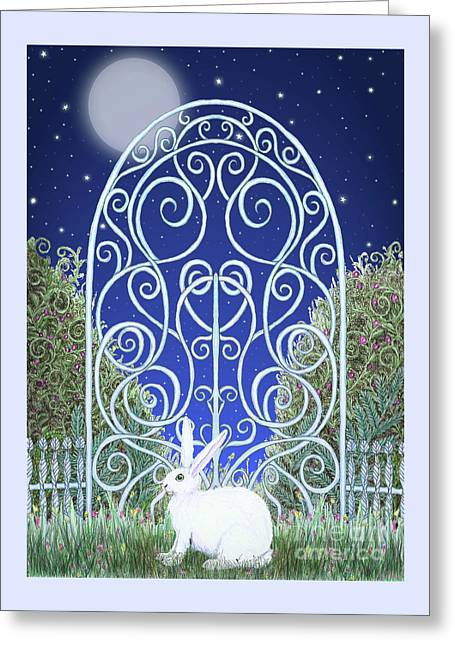 Greeting Card featuring the mixed media Bunny, Gate And Moon by Lise Winne