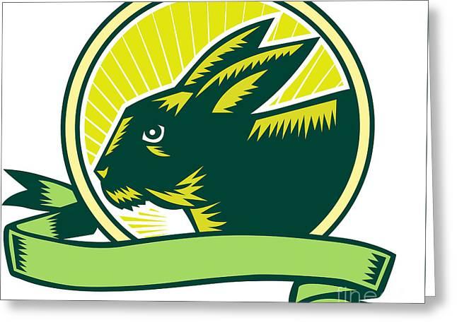 Bunny Head Circle Ribbon Woodcut Greeting Card by Aloysius Patrimonio