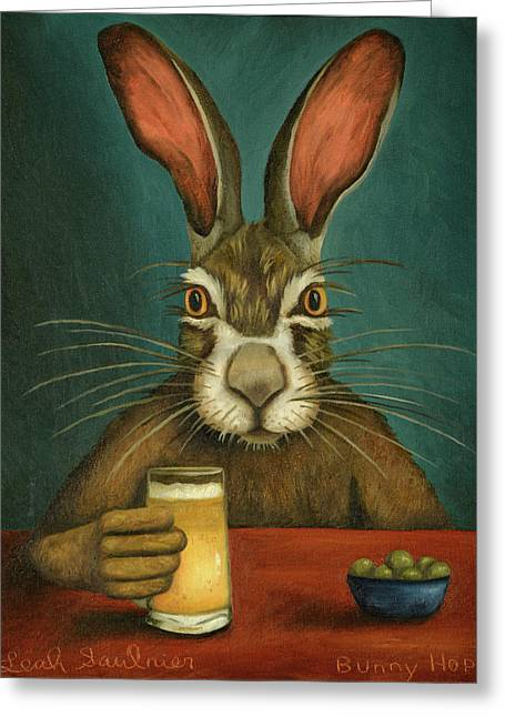 Bunny Hops Greeting Card by Leah Saulnier The Painting Maniac