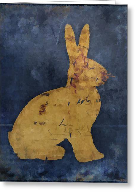 Bunny In Blue Greeting Card by Carol Leigh