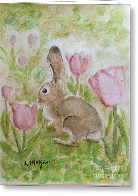 Bunny In The Tulips Greeting Card