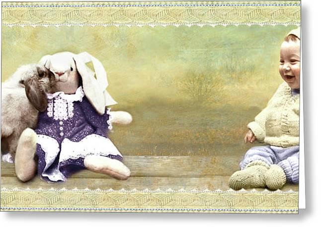 Bunny Kisses Doll Greeting Card