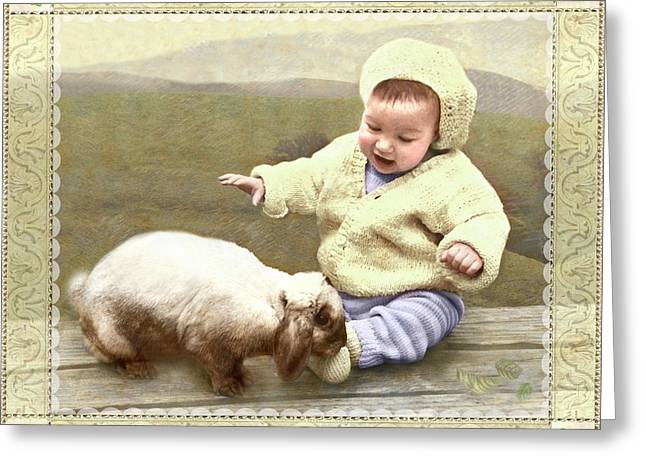 Bunny Nuzzles Baby's Toes Greeting Card