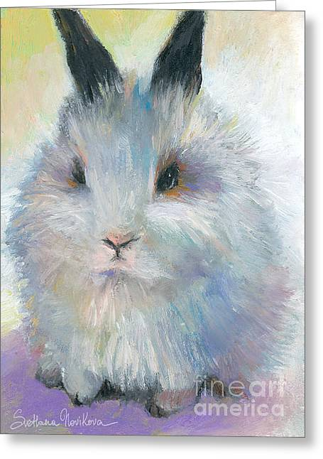 Wildlife Prints Drawings Greeting Cards - Bunny Rabbit painting Greeting Card by Svetlana Novikova