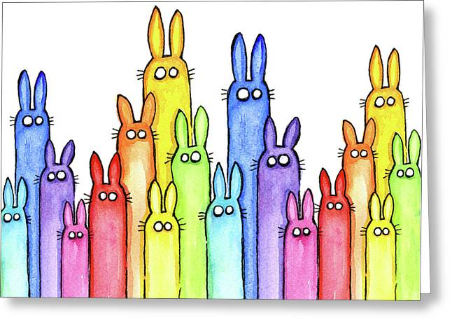 Bunny Rainbow Pattern Greeting Card by Olga Shvartsur