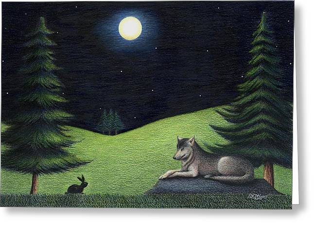 Bunny Visits Wolf Greeting Card