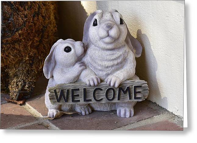 Bunny Welcome Greeting Card by Linda Brody