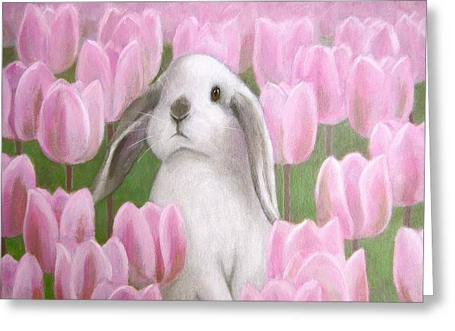 Bunny With Tulips Greeting Card