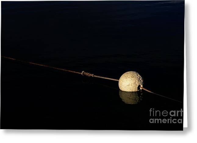 Greeting Card featuring the photograph Buoy At Night by Stephen Mitchell