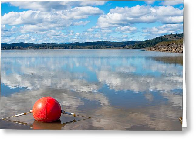 Buoy On A Reflective Lake Greeting Card