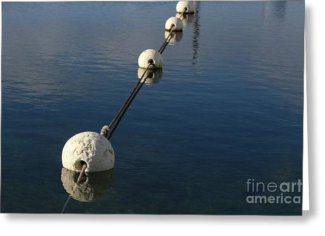 Greeting Card featuring the photograph Buoys In Aligtnment by Stephen Mitchell