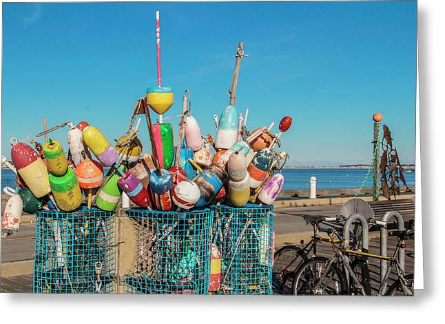 Buoys In Provincetown Greeting Card by Ben Hughes