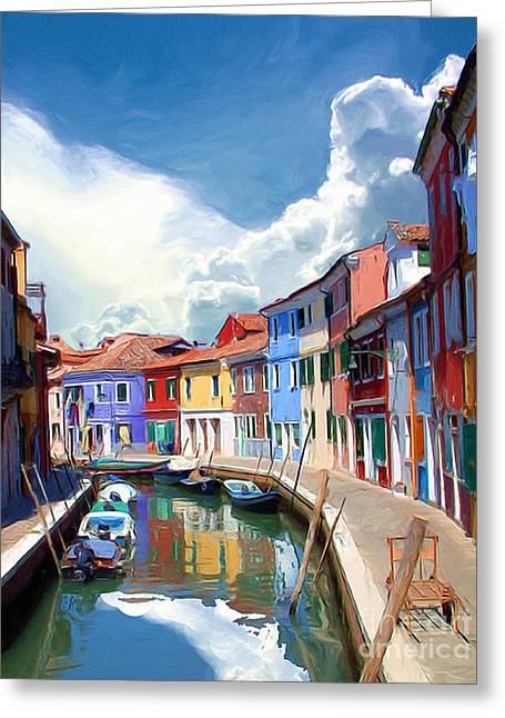 Burano Canal Greeting Card by Tom Griffithe