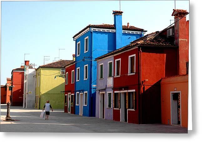 Burano Colors Greeting Card by Diego Bonomo