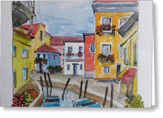 Burano, Italy Greeting Card by Janet Butler