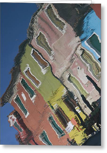 Burano Italy Reflections Greeting Card by Elvira Butler