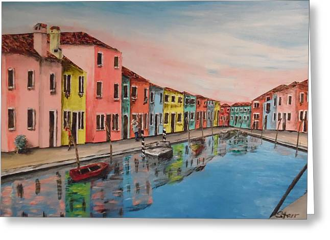 Burano Italy Reflections Greeting Card by Irving Starr