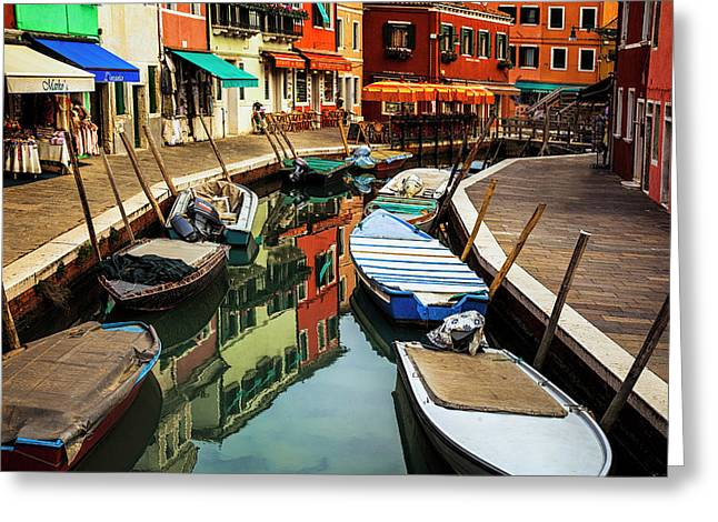 Greeting Card featuring the photograph Burano Reflections by Andrew Soundarajan