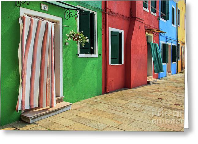 Burano Street Greeting Card by Inge Johnsson