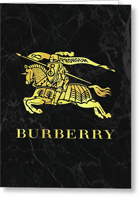 Burberry - Black And Gold Greeting Card